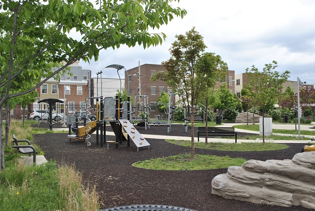 This picture, courtesy of the Philadelphia Water Department, shows Heron Playground's Porous Surface.