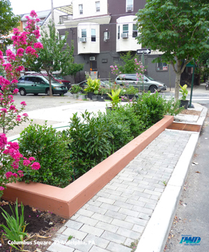 Stormwater Planter at Columbus Square; Photo Credit: Philadelphia Water Department
